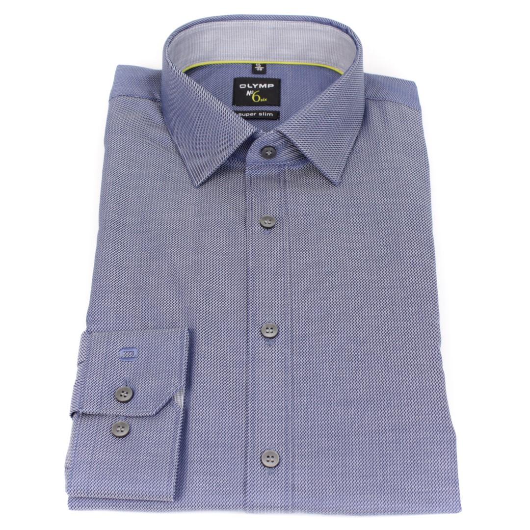 Olymp Herren Super Slim Hemd No. 6 blau Strukturiert 2512 24 18