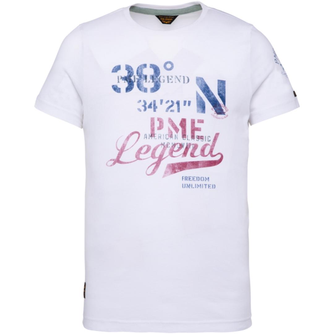 PME Legend Herren T-Shirt weiß Single Jersey PTSS203551 7003
