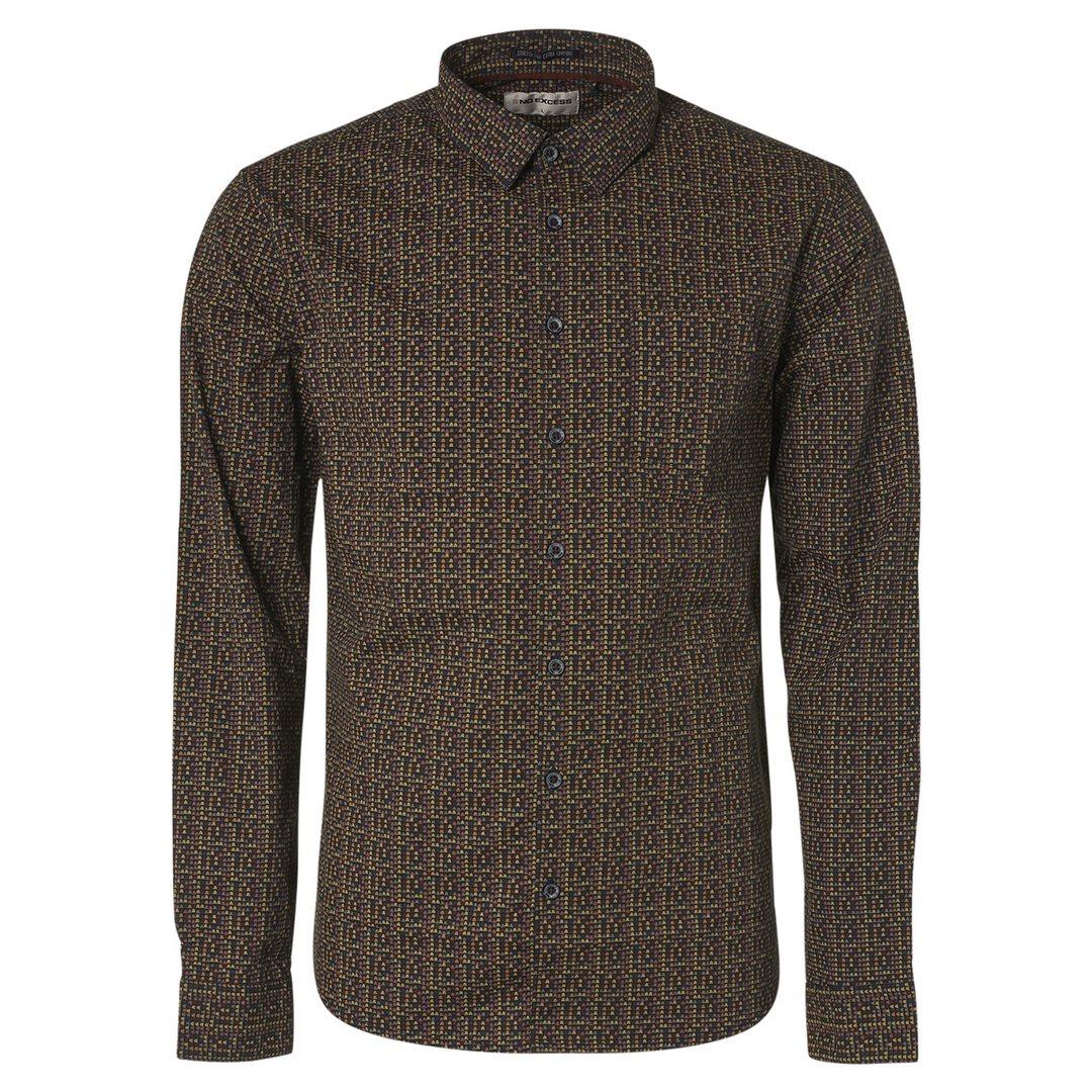 No Excess Herren Freizeithemd minimal Muster Shirt Stretch Allover Printed 12450801SN 078 night