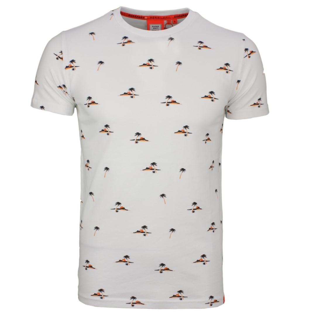 Superdry T-Shirt Organic Cotton Palmen All Over Print weiß M1010060A 01C optic