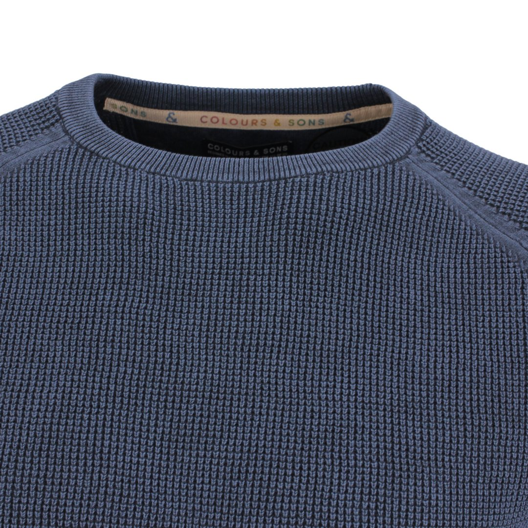 Colours & Sons Herren Strickpullover Pullover blau Unifarben 9221 101 699 Navy