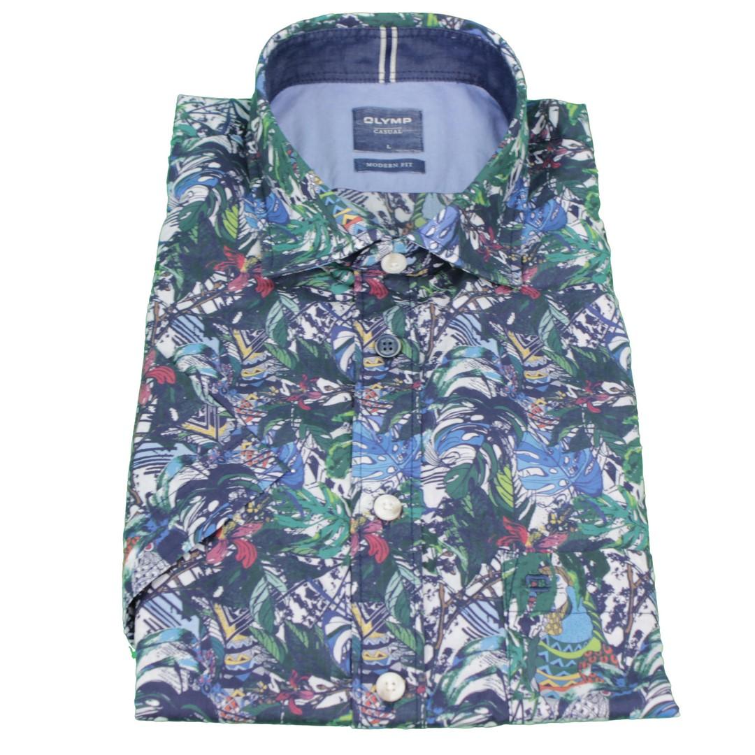 Olymp Herren Casual Hemd Halb Arm mehrfarbiger Tropen Print 4030 32 18