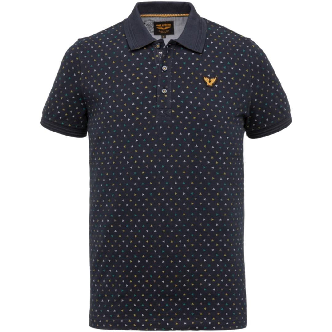 PME Legend Polo Shirt Fine Pique All Over Print blau PPSS203867 5287