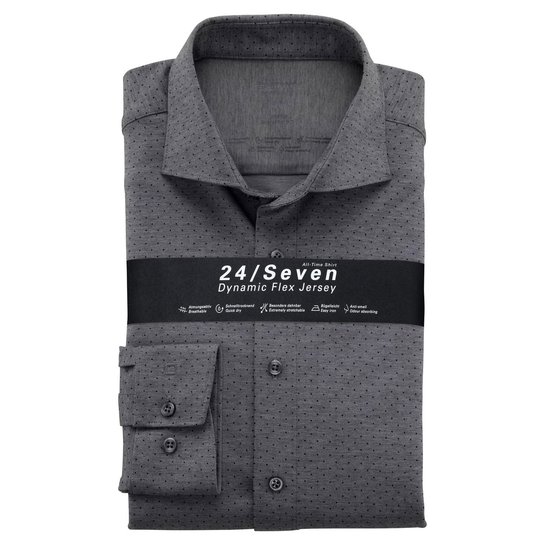Olymp Luxor 24/Seven Dynamic Flex Shirt Hemd Modern Fit Businesshemd schwarz 122484 68