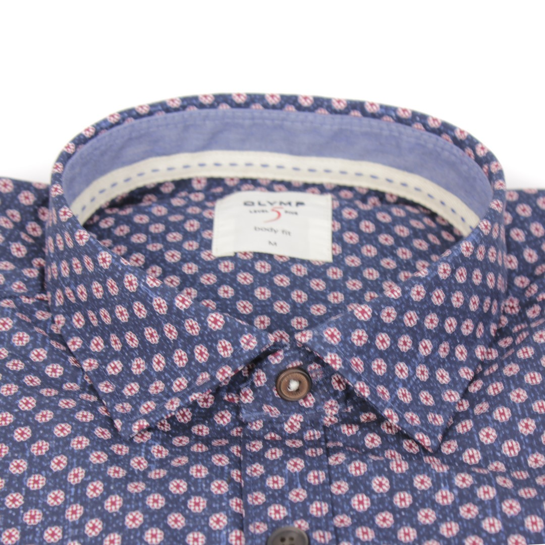 Olymp Herren Casual Level 5 Freizeit Hemd blau rot Minimal Muster 3002 24 38