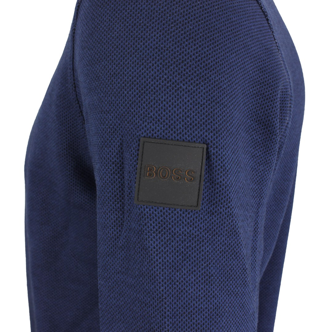 Hugo Boss Herren Strick Pullover blau unifarben 50457210 407 Dark blue Whimmeycrew