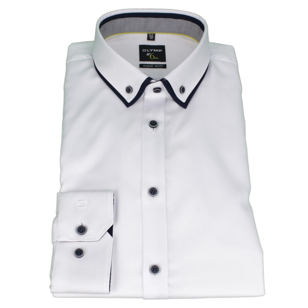 Olymp Herren Super Slim Hemd No. 6 Doppelkragen weiß unifarben 2540 44 00