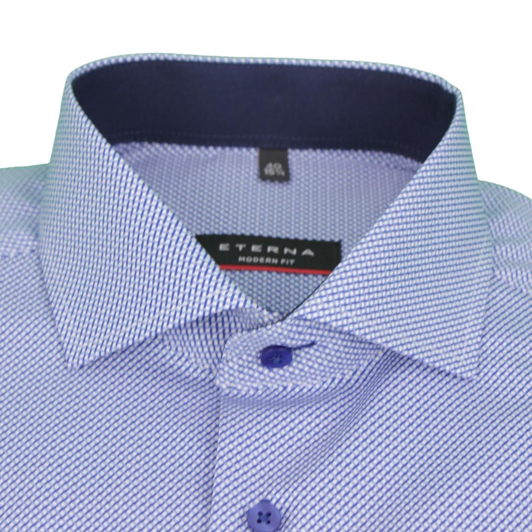 Eterna Herren Hemd Modern Fit blau Minimal Muster 8894 X15V 16