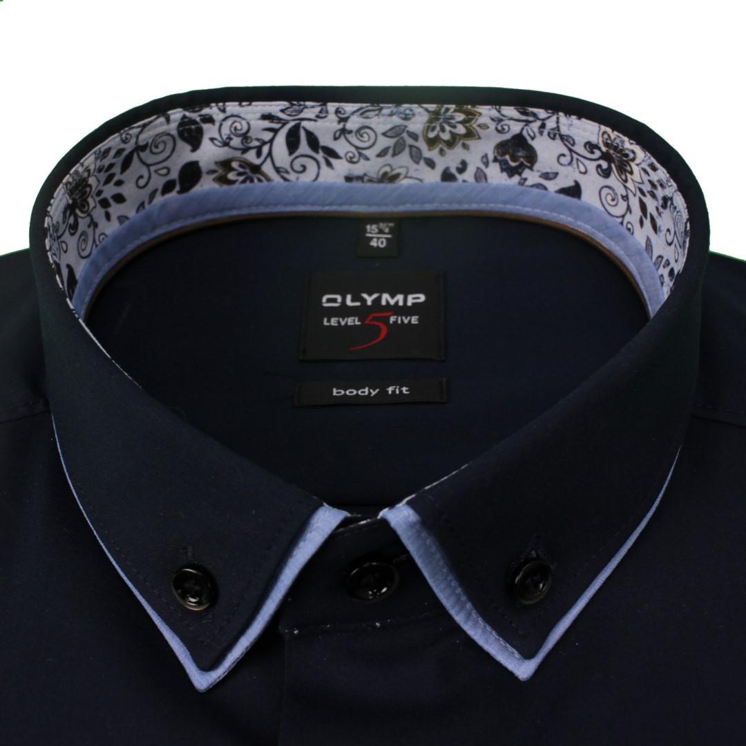 Olymp Herren Body Fit Hemd Level 5 dunkel blau unifarben 219674 08