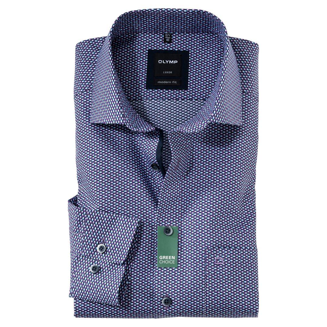 Olymp Luxor Hemd langarm Businesshemd Modern fit Green Choice 127084 94 violett