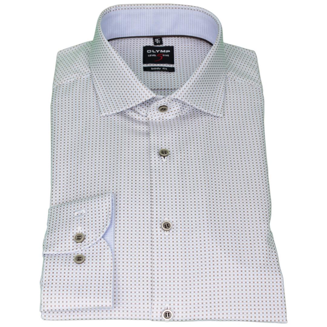 Olymp Herren Body Fit Hemd Level 5 blau braun Minimal Muster 2031 34 27