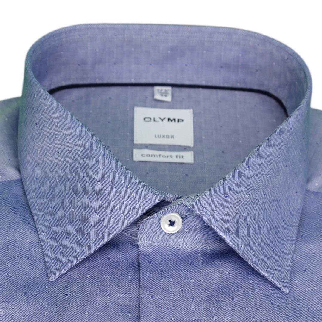 Olymp Luxor Comfort Fit Hemd blau strukturiert Minimal Muster 1022 44 18