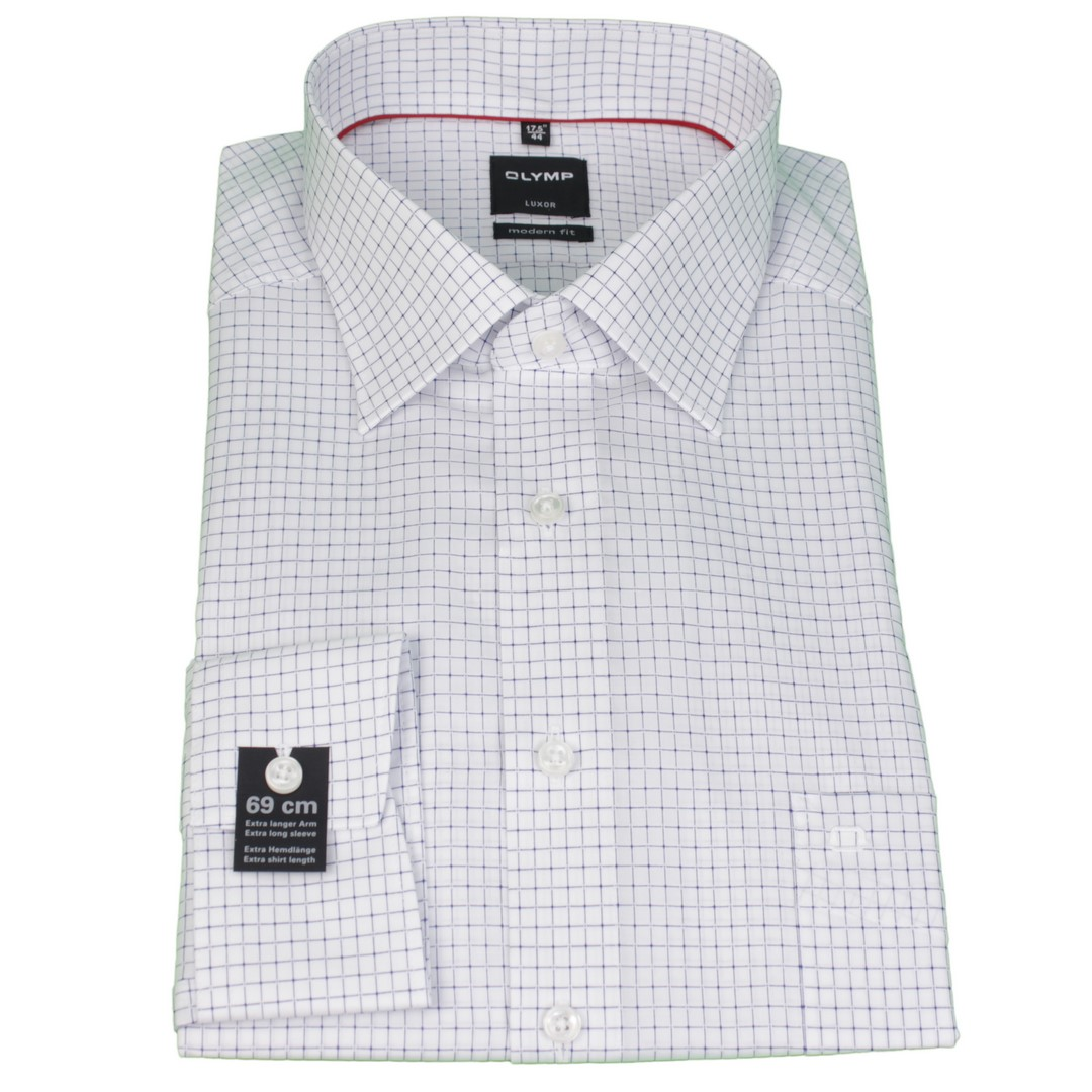 Olymp Hemd Modern Fit Extra langer Arm weiß Gitter Karo 1245 19 18