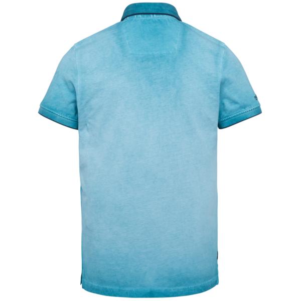PME Legend Polo Shirt Light Pique Cold Dye blau unifarben PPSS212861 5165