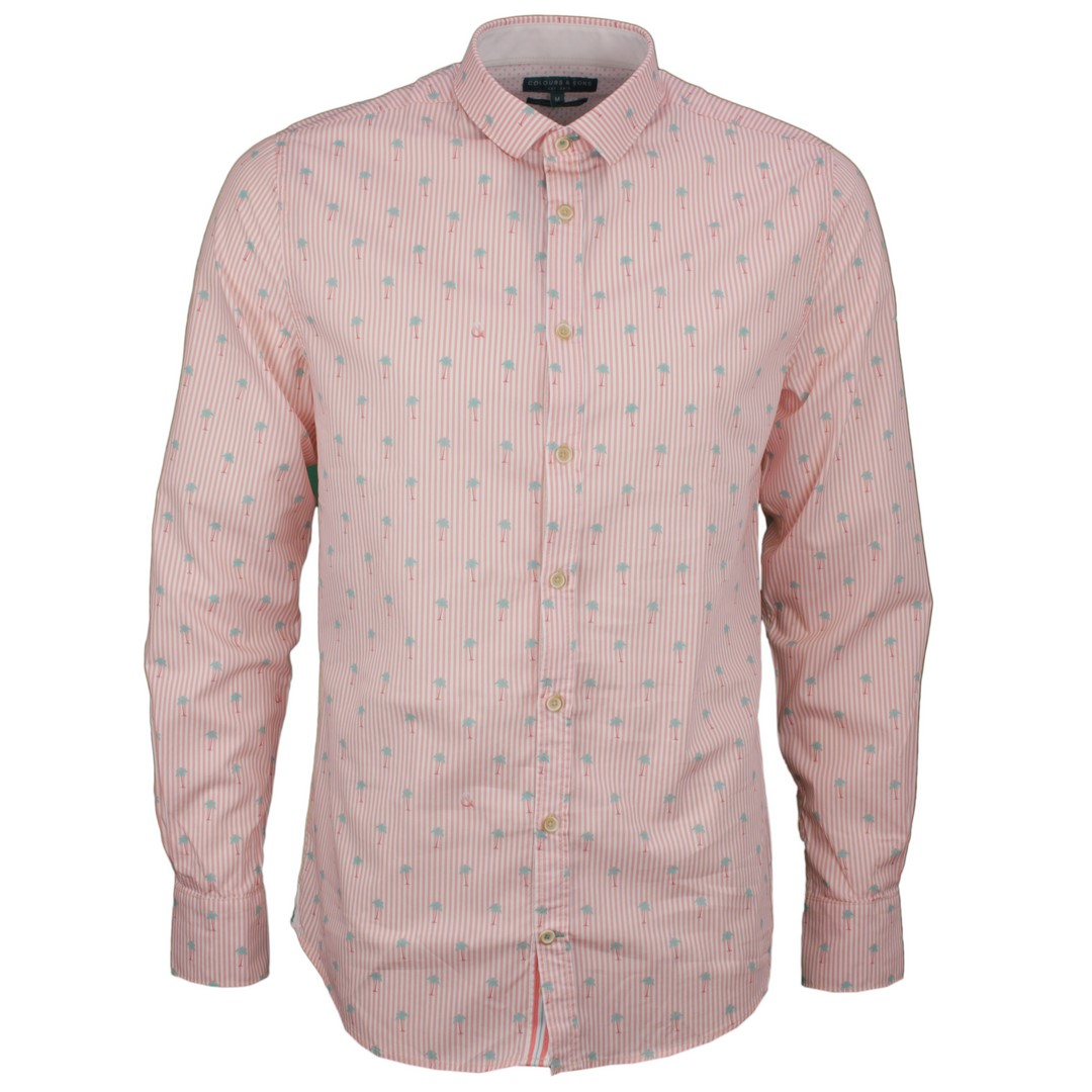 Colours & Sons Herren Freizeit Hemd rosa Palmen Muster 9121 260 261 Palm Stripe