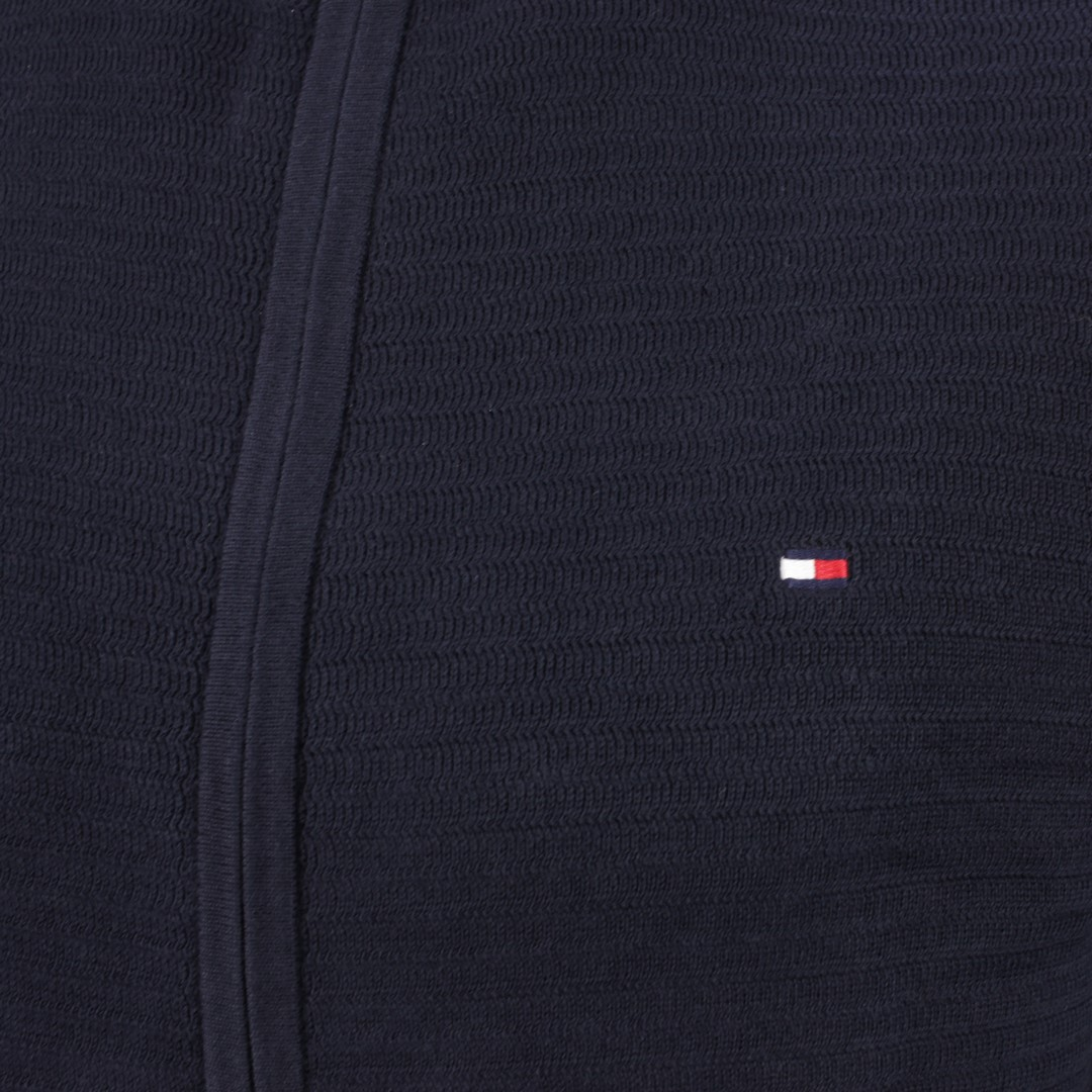 Tommy Hilfiger Strick Jacke Fine Zip Zag Structure Zip Thru blau MW0MW17347 DW5