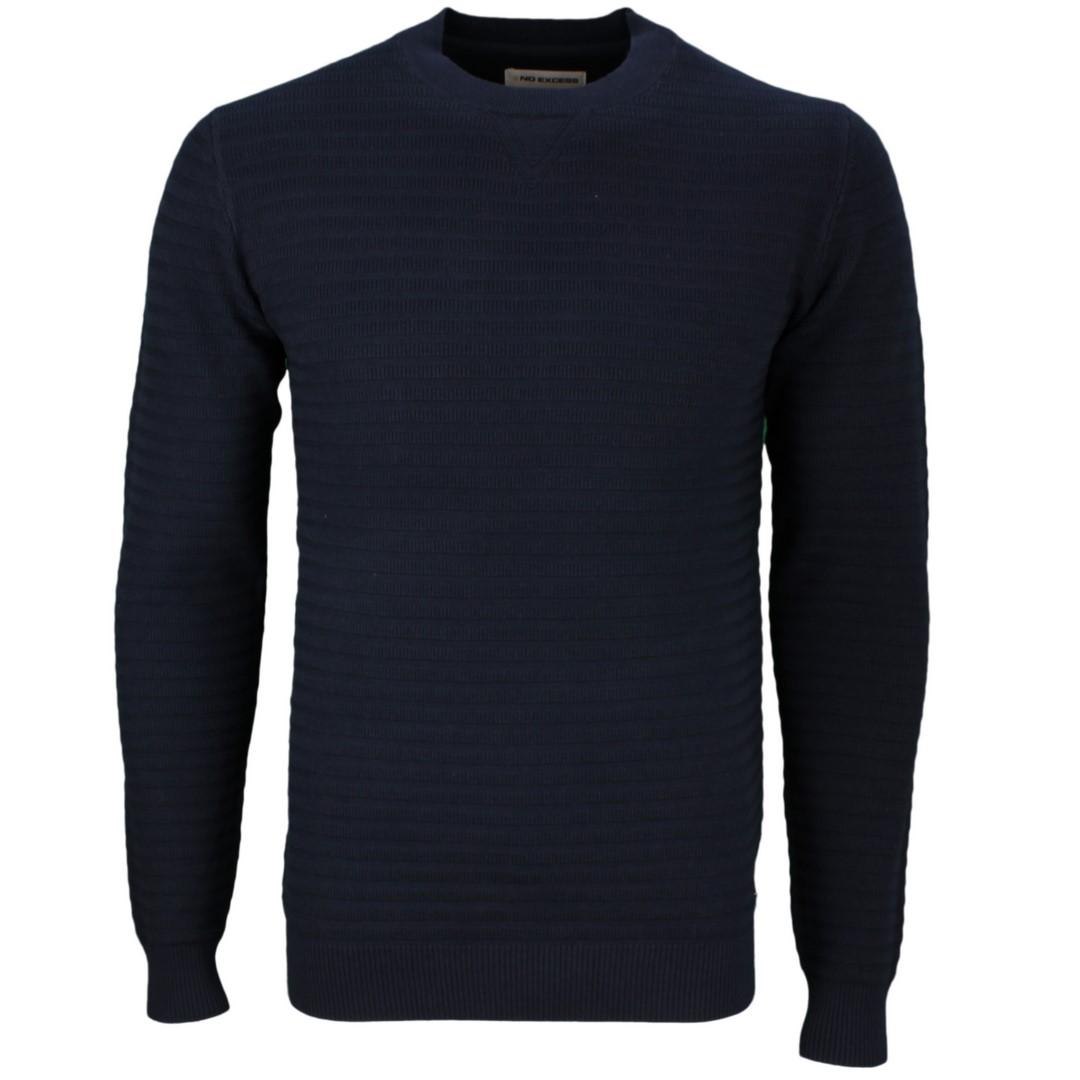 No Excess Herren Strick Pullover blau strukturiert unifarben 99211126 078 Night
