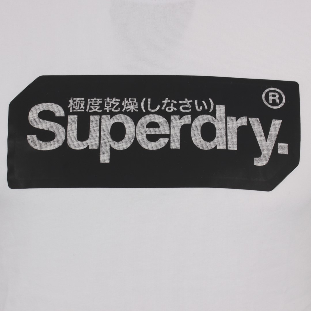 Superdry Herren T-Shirt Core Logo Tag weiß M1010049A 01C optic