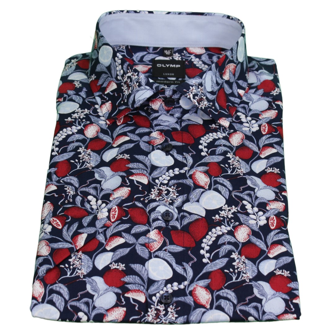 Olymp Herren Luxor Modern Fit Hemd blau Blumen Muster 5802 27 18