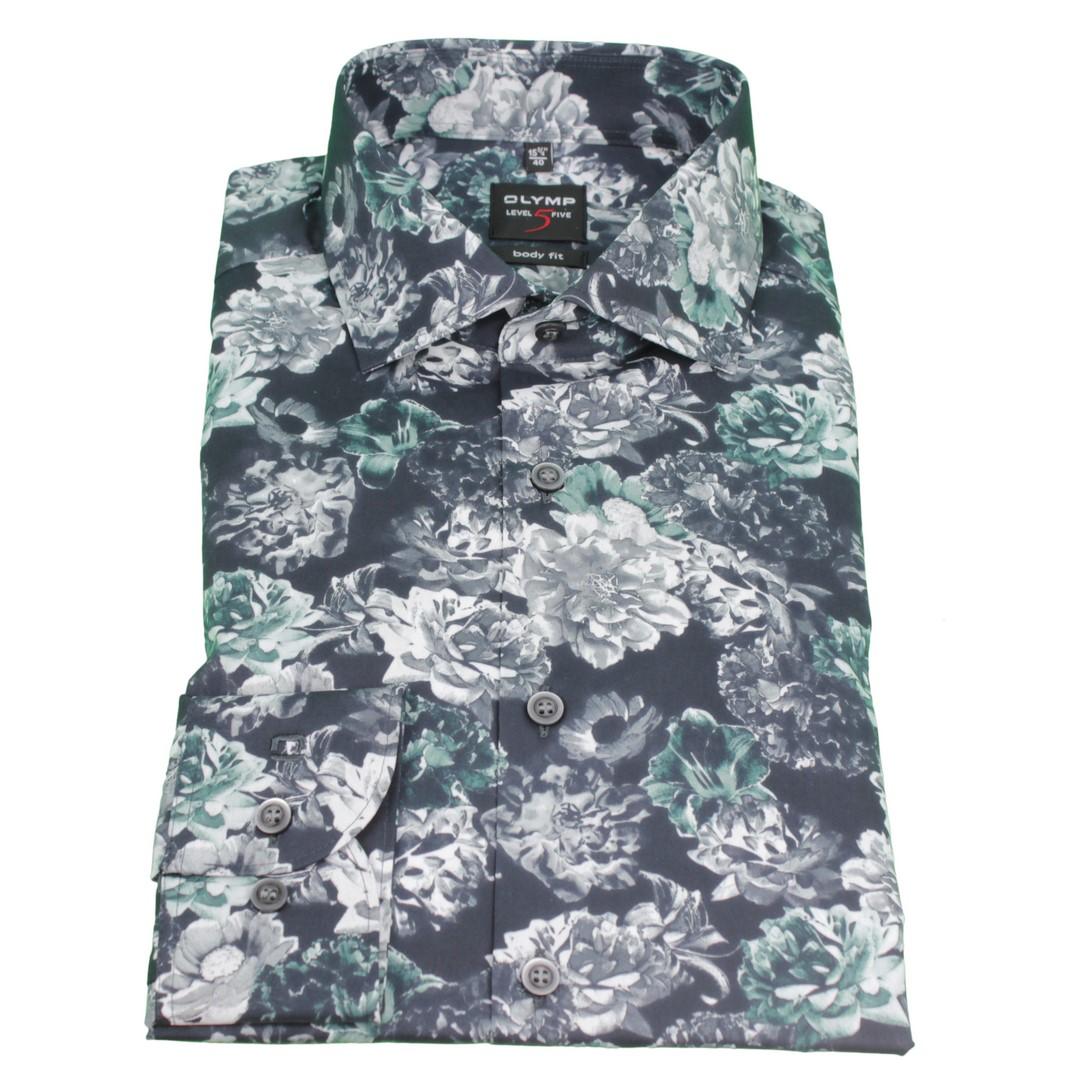 Olymp Body Fit Level 5 Hemd blau Blumen Muster 2037 44 45