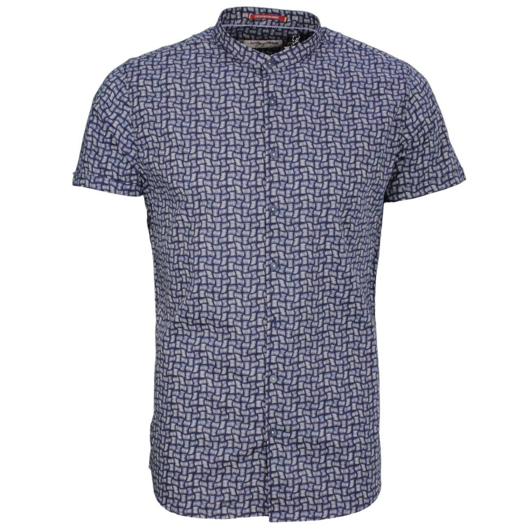 No Excess Freizeit Kurzarm Hemd blau Minimal Muster 95420227 078 night