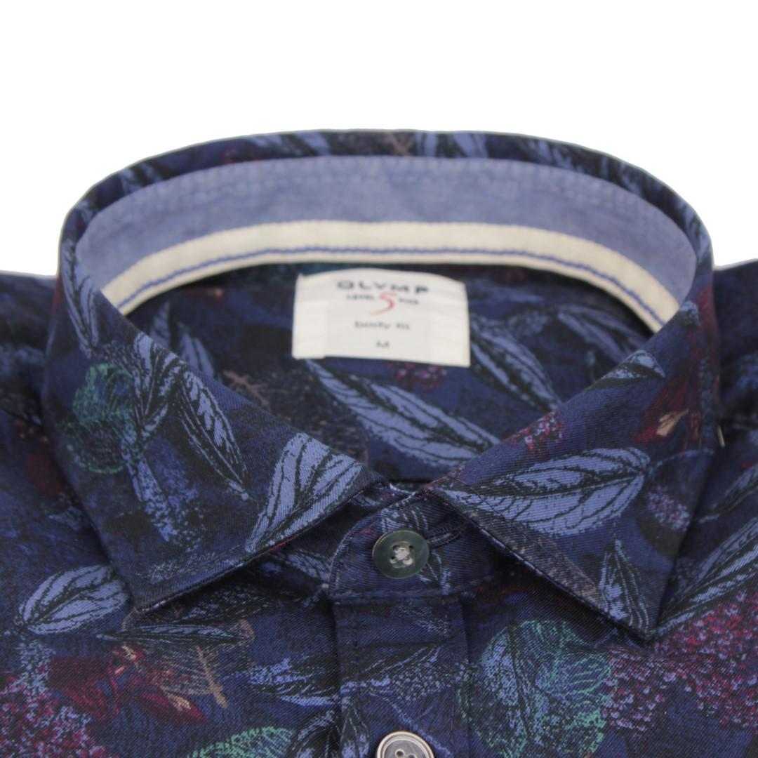 Olymp Herren Casual Level 5 Freizeit Hemd blau Floral Muster 3009 24 13
