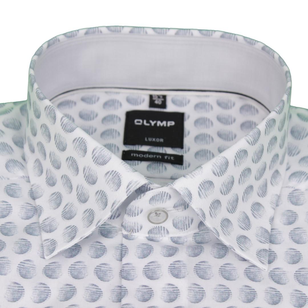 Olymp Herren Luxor Modern Fit Hemd grau Minimal Muster 1266 34 62