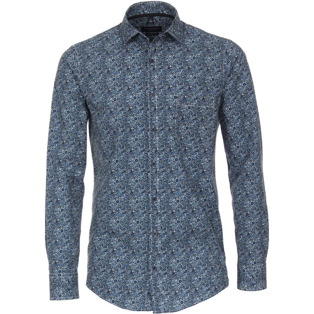 Casa Moda Herren Freizeit Hemd Langarm florales Muster 413740400 100 blau
