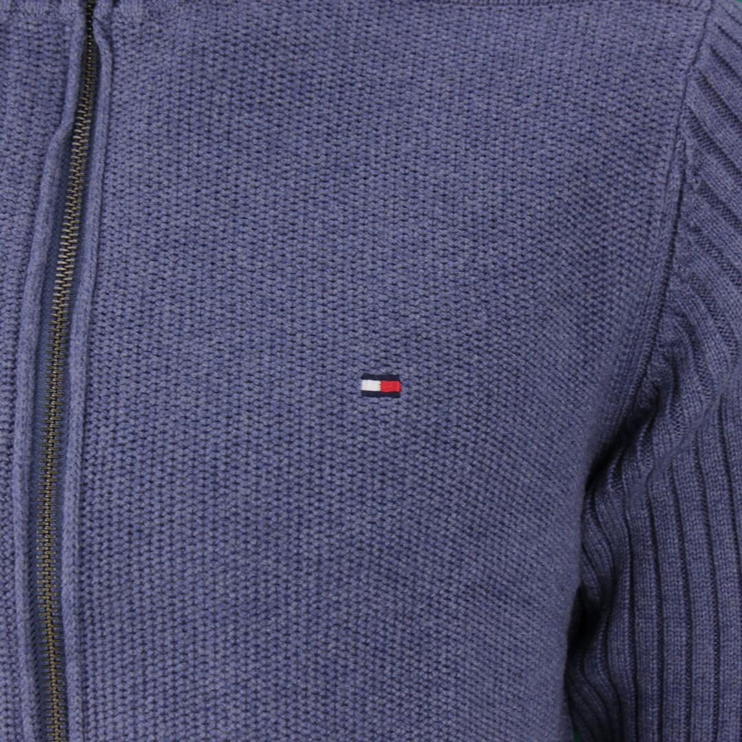 Tommy Hilfiger Herren Strick Jacke blau unifarben MW0MW15451 DV1