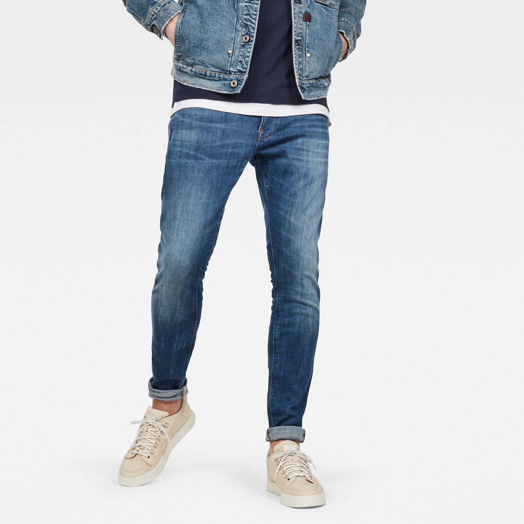 G-Star Herren Jeans Hose Jeanshose Stone Washed Revend Skinny blau 51010 8968 6028
