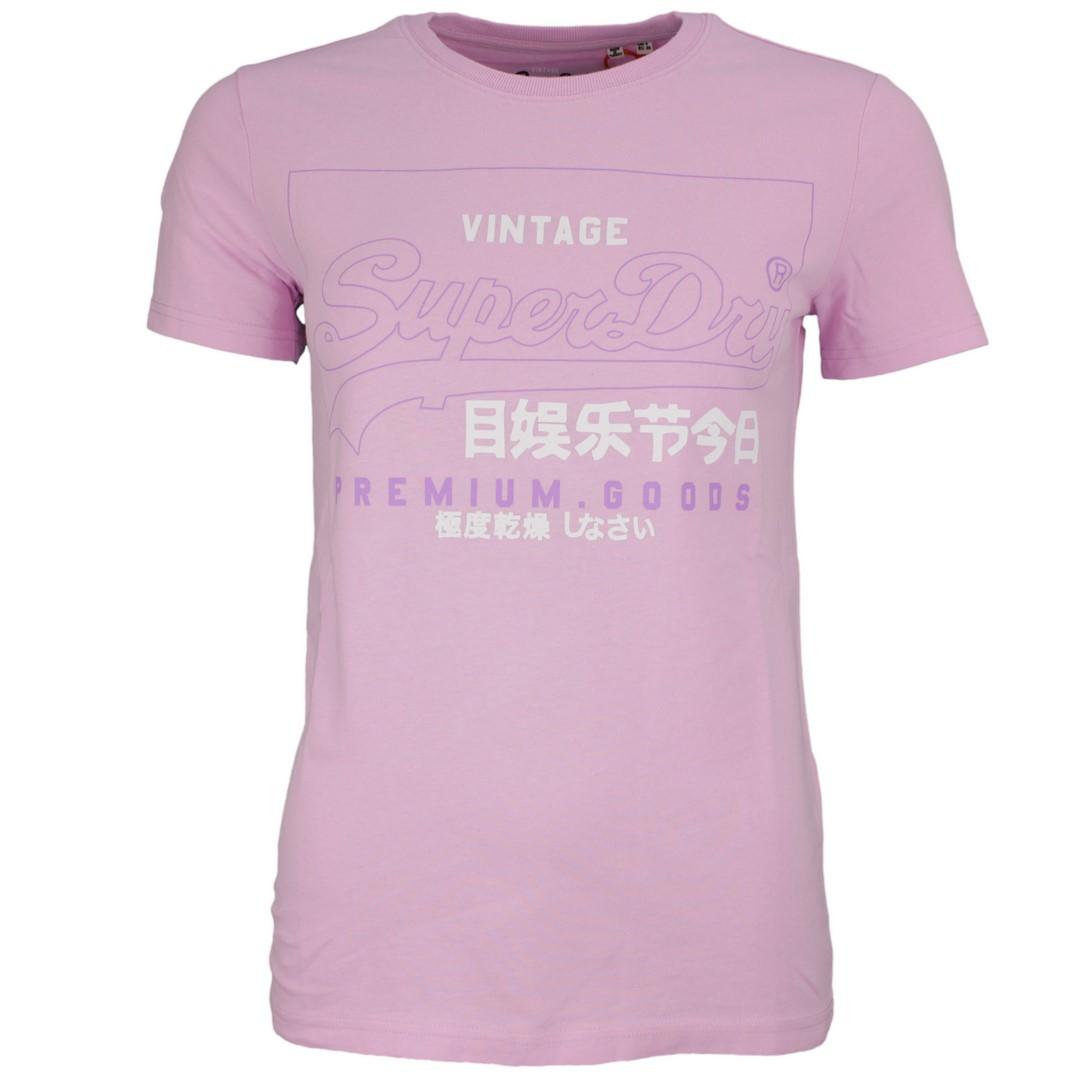 Superdry Damen T-Shirt Label Outline Tee lila unifarben W1010102A 5sx flieder