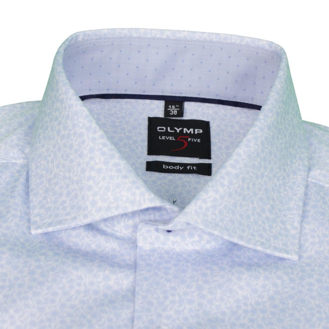 Olymp Herren Body Fit Hemd Level 5 blau weiß Gemustert 2068 34 11