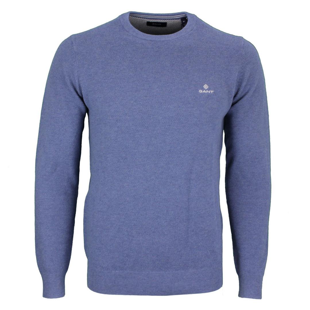 Gant Strick Pullover Cotton Pique blau unifarben 8030521 906 Denim blue