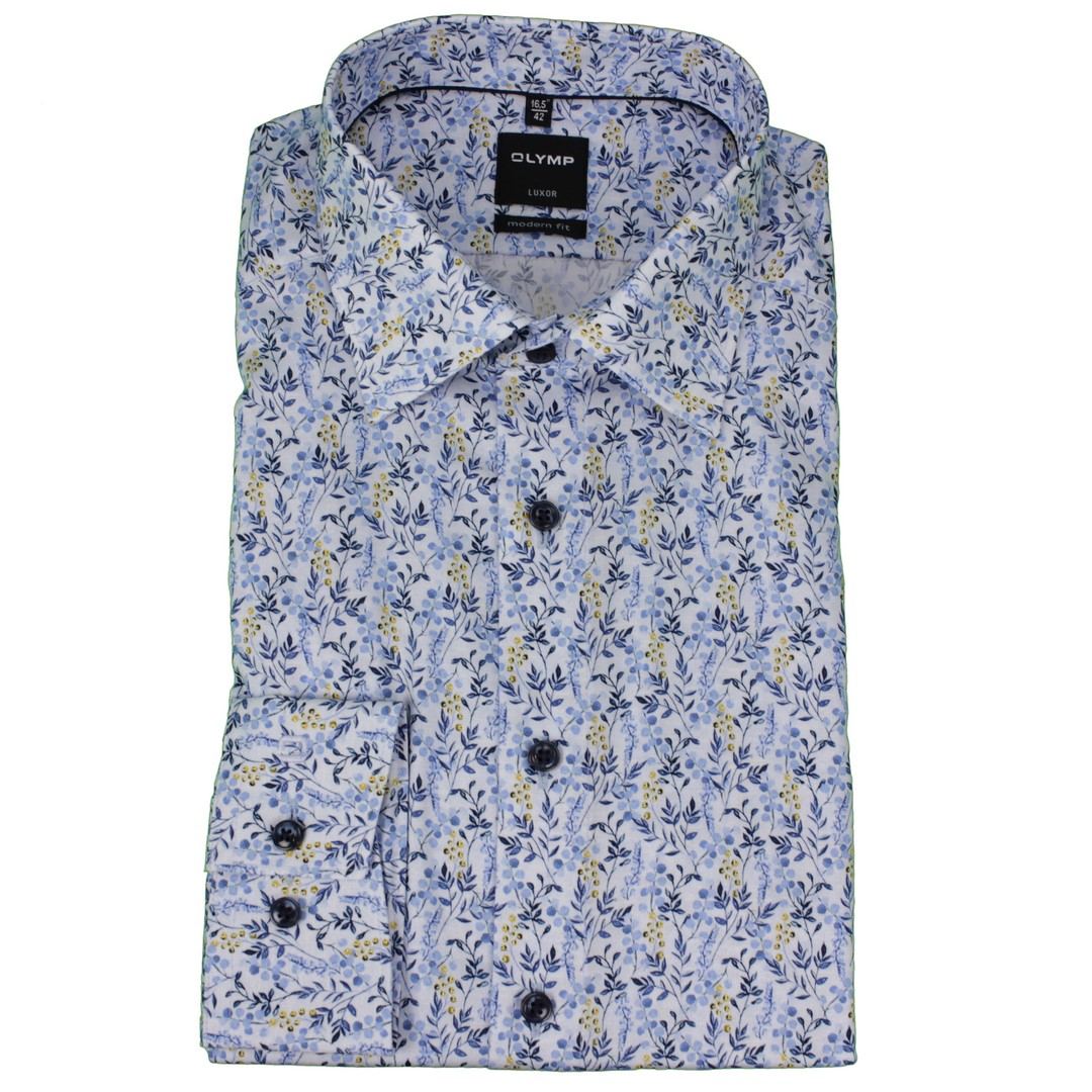 Olymp Herren Luxor Modern Fit Hemd mehrfarbig Blumen Muster 131674 11