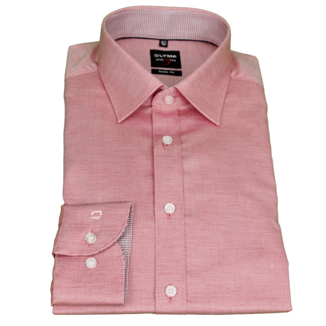 Olymp Body Fit Hemd Level 5 weiß rot Minimal Muster 2017 34 35