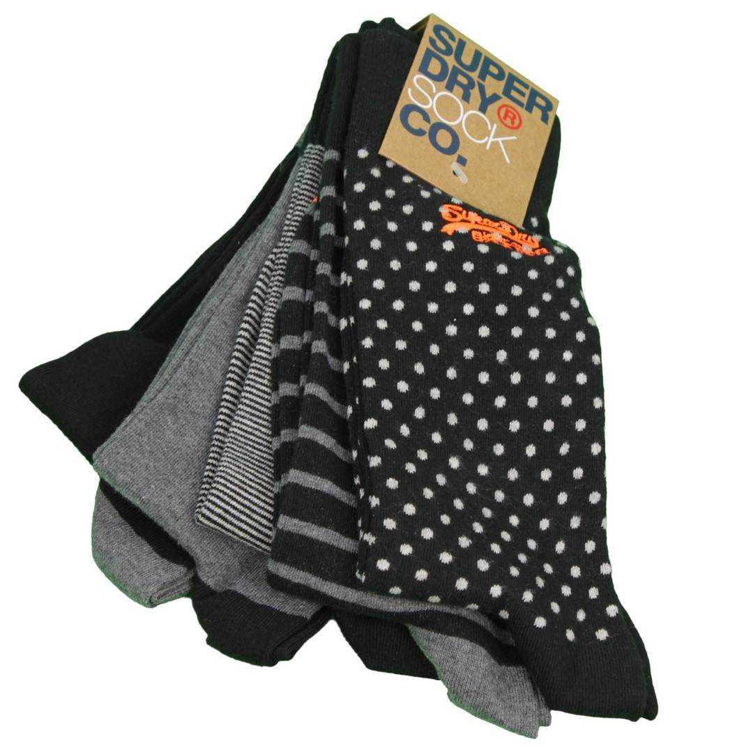 Superdry City Socken Fünfer Pack mehrfarbig gemustert M31109NT H3X tonal
