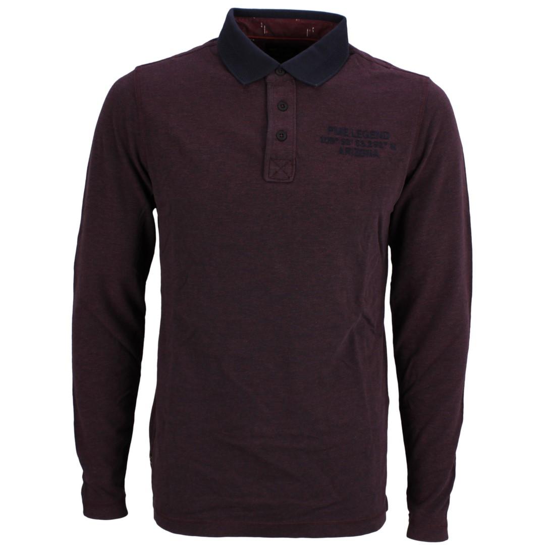 PME Legend Herren Rugby Shirt Pique rot blau meliert PPS206814 4090