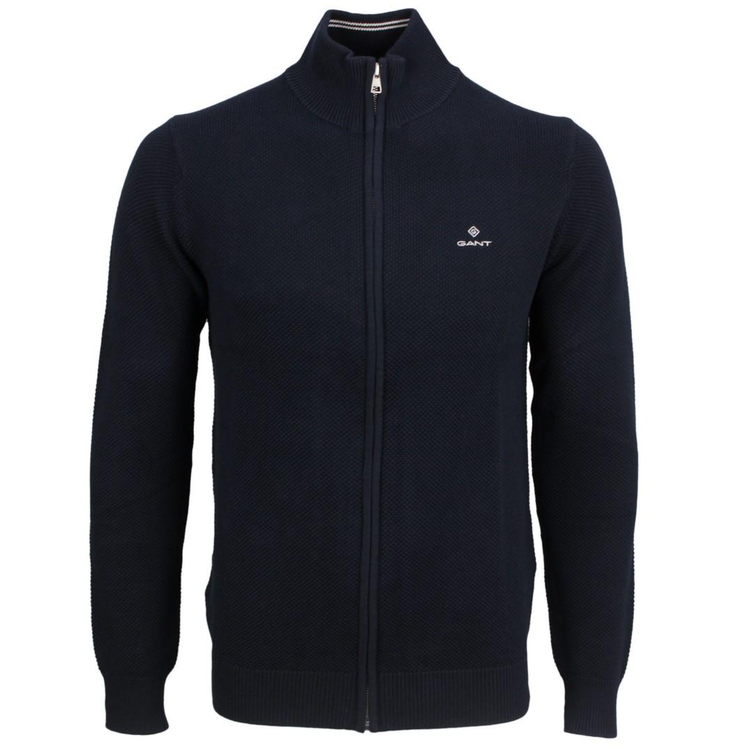 Gant Strick Jacke Strickjacke Cotton Pique Zip Cardigan blau 8030524 433 Evening blue