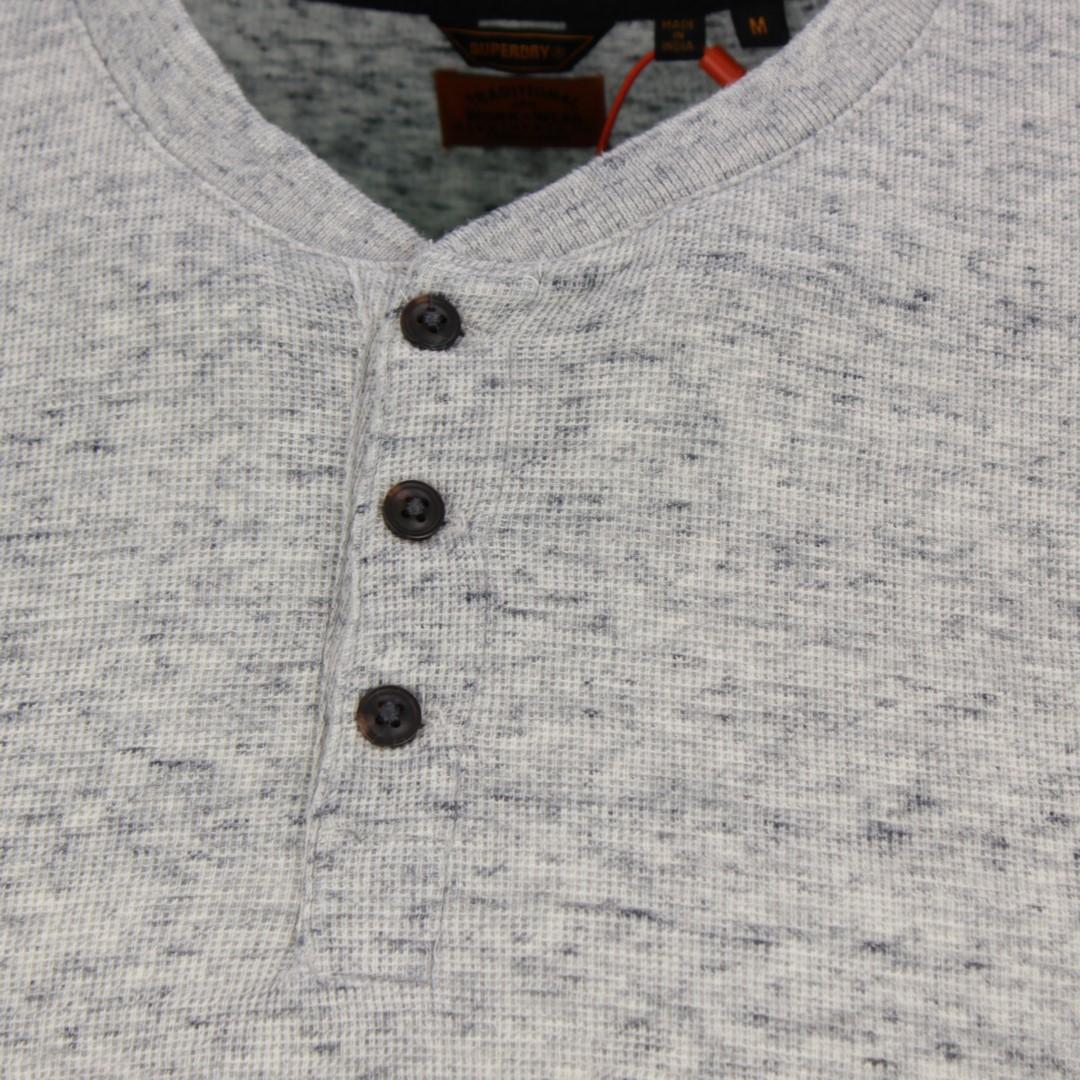 Superdry Herren langarm Shirt Micro Texture Henley grau M6010182A 3UX grey