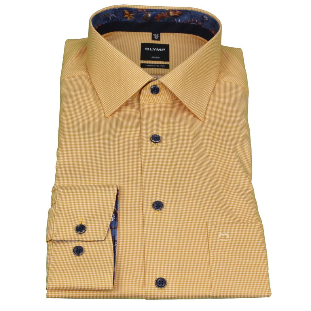 Olymp Herren Luxor Modern Fit Hemd gelb klein kariert 124264 53