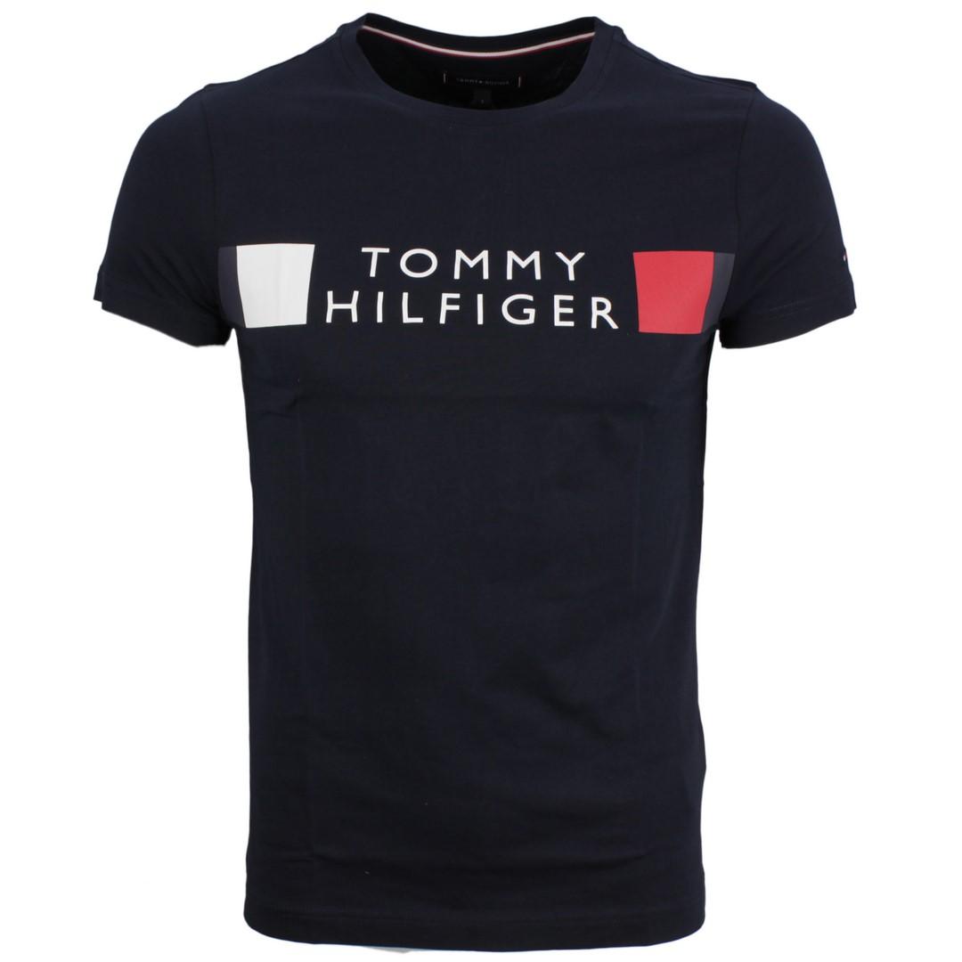 Tommy Hilfiger Herren T-Shirt Logo Druck marine blau MW0MW13330 DW5