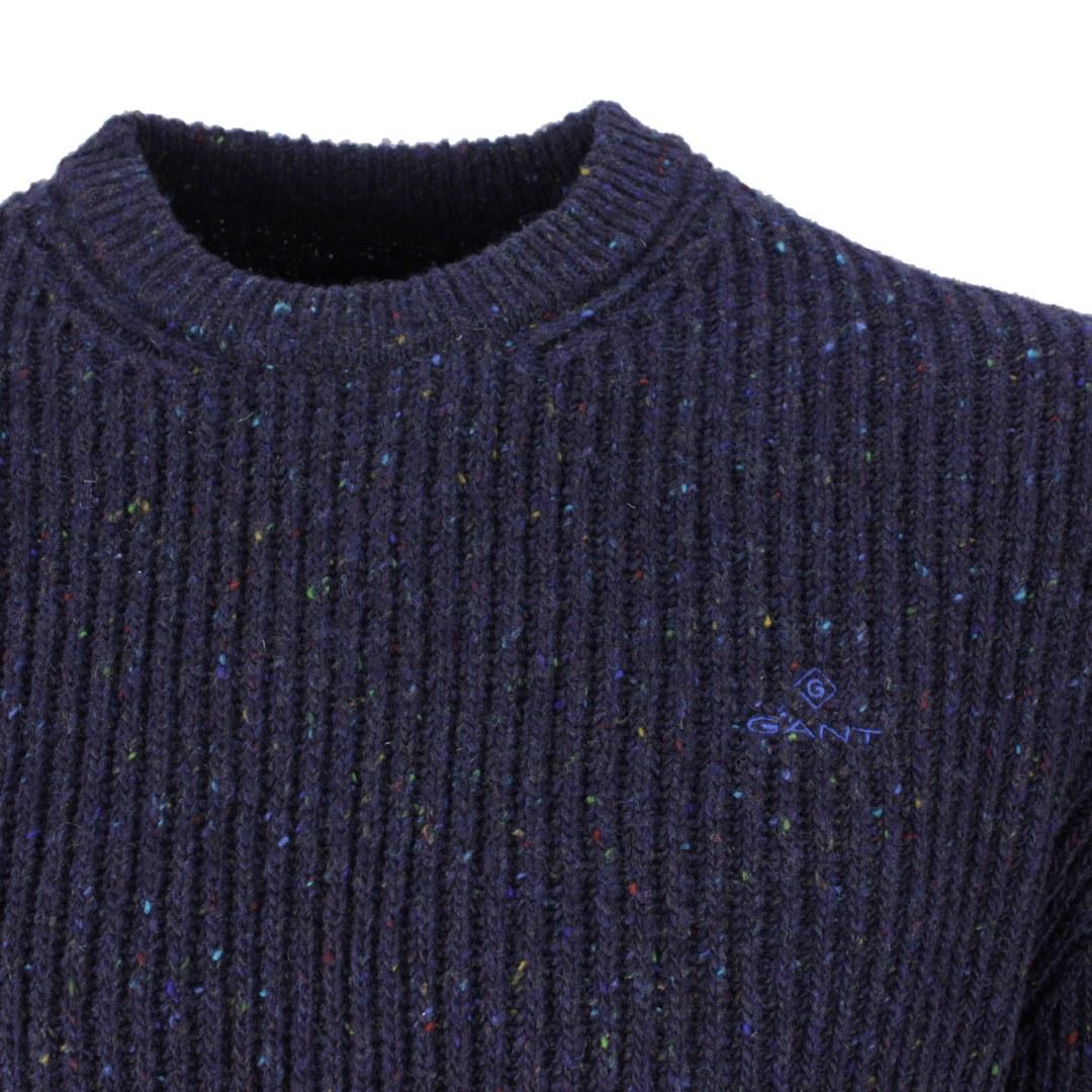 Gant Herren Strick Pullover Neps Rib C Neck blau 8040095 433 evening blue