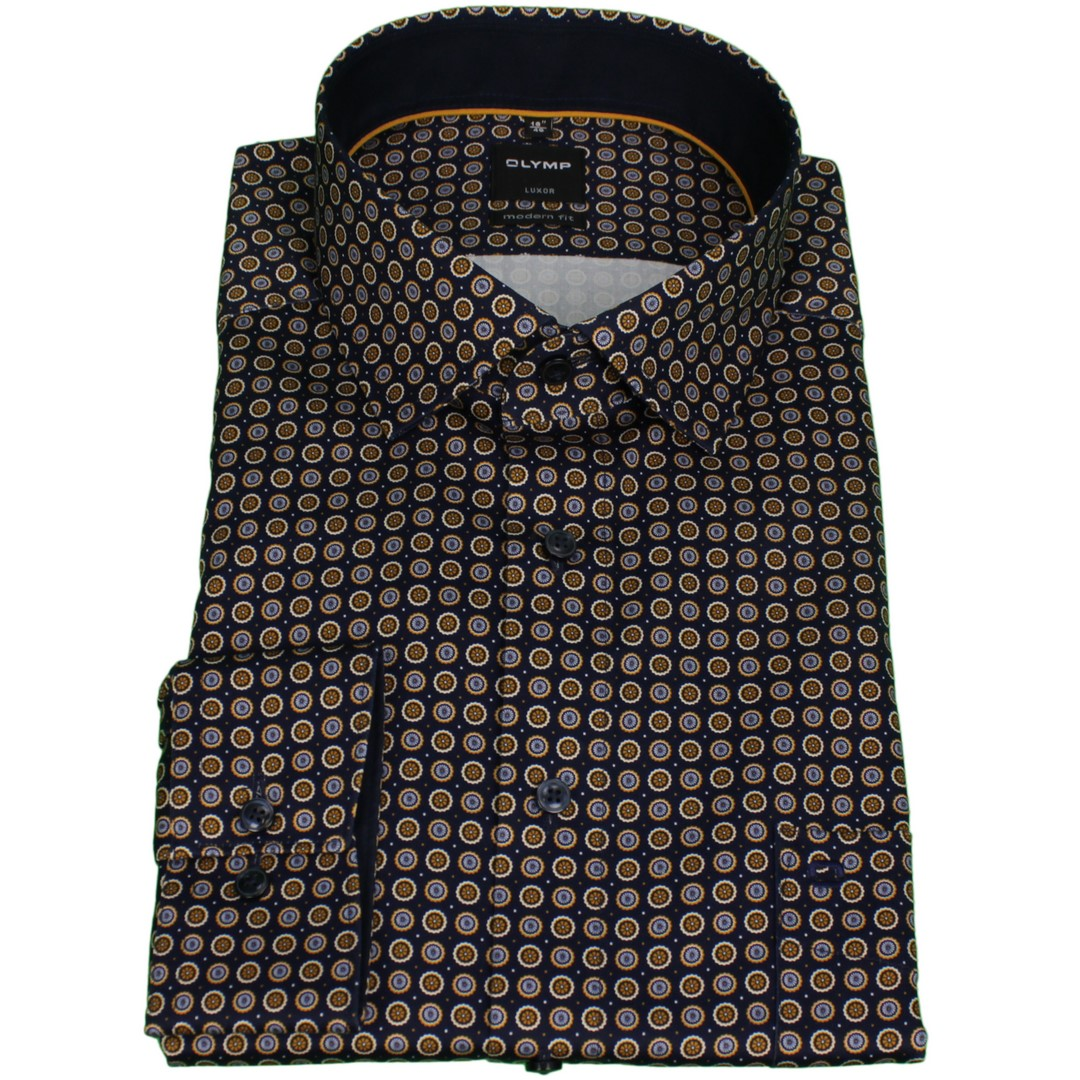 Olymp Herren Luxor Modern Fit Hemd mehrfarbig gemustert 129464 53