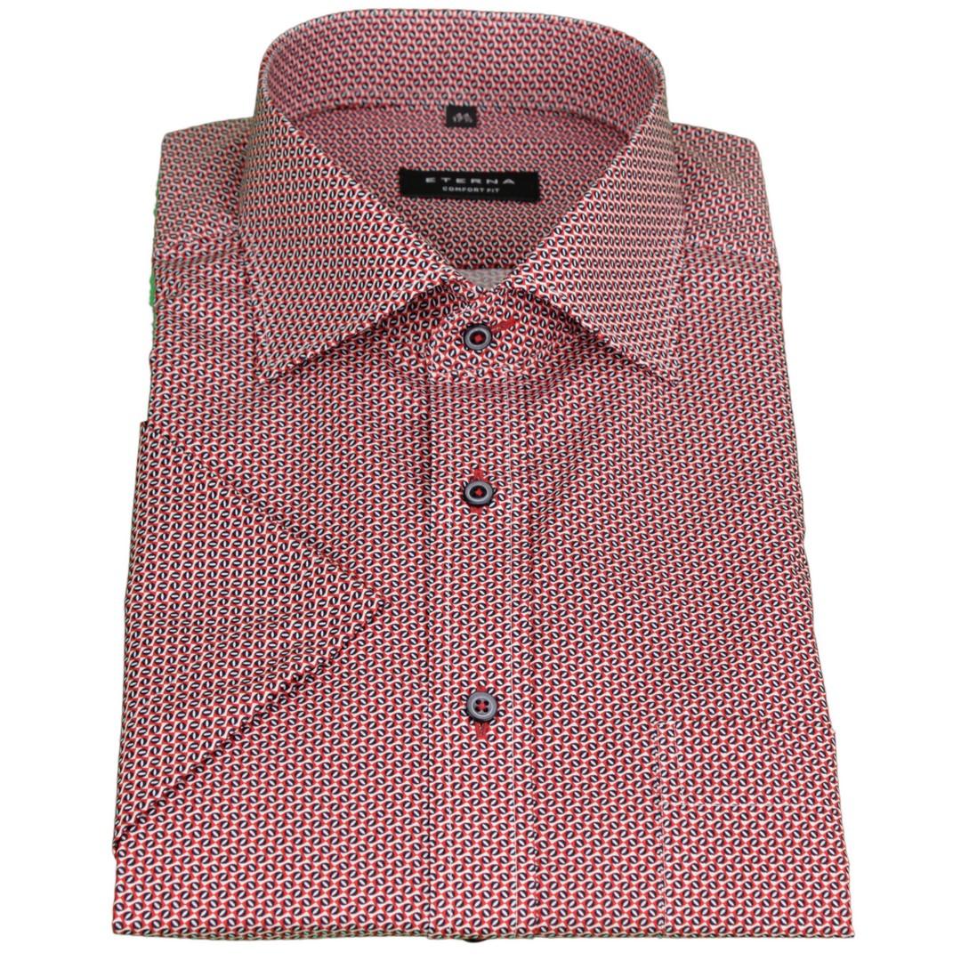 Eterna Halb Arm Kurzarm Hemd Comfort Fit rot blau Minimal 3783 K187 55