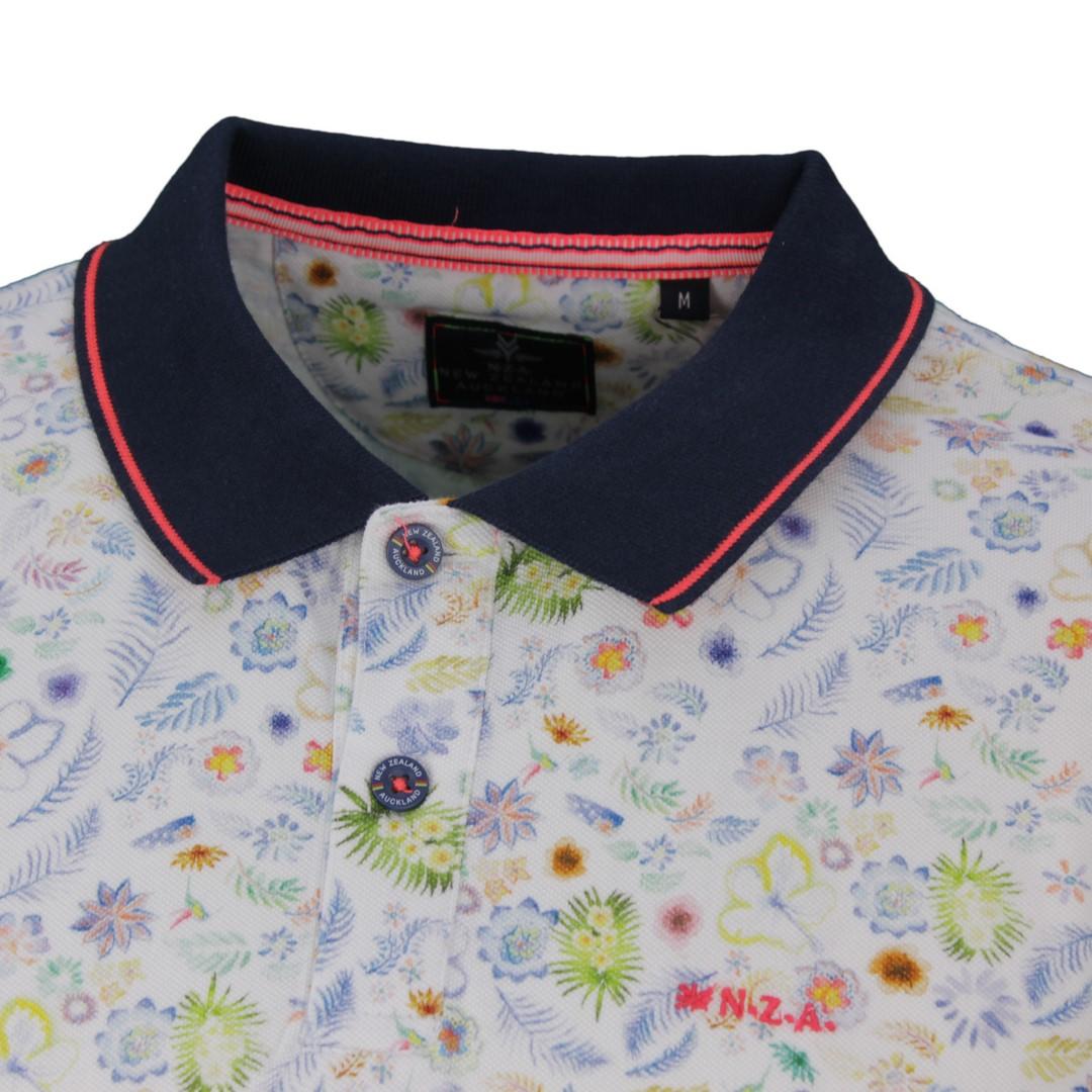 New Zealand Auckland NZA Polo Shirt weiß Blumen Muster 20DN101 40 off White