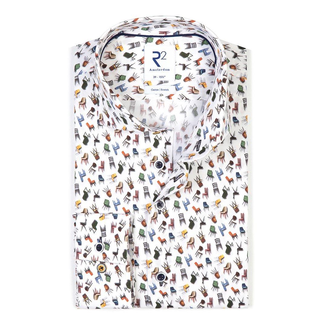 R2 Amsterdam Freizeit Hemd Modern Fit Langarmhemd 114.WSP.075 004 bunte Stühle