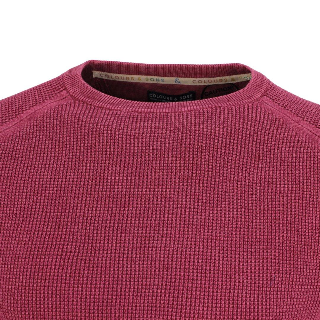 Colours & Sons Herren Strickpullover Pullover rubin Unifarben 9221 101 285 Merlot
