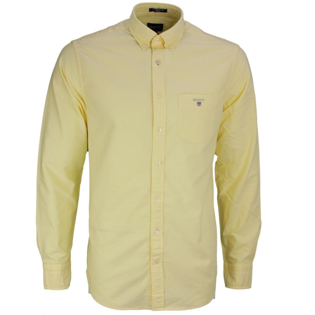 Gant Freizeit Regular Fit Oxford gelb unifarben 3046000 749 Brimstone Yellow