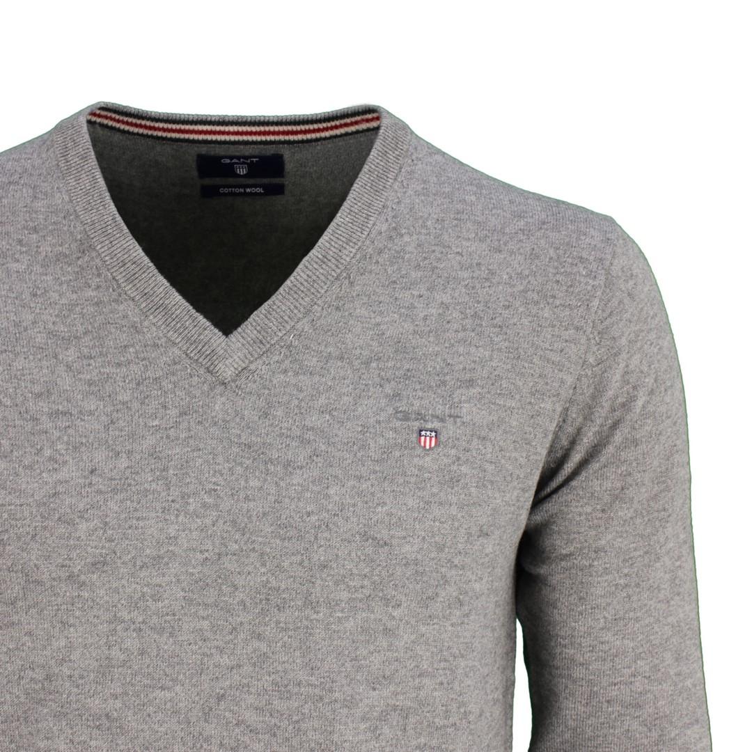 Gant Herren Strick Pullover Cotton Wool grau unifarben 83102 92