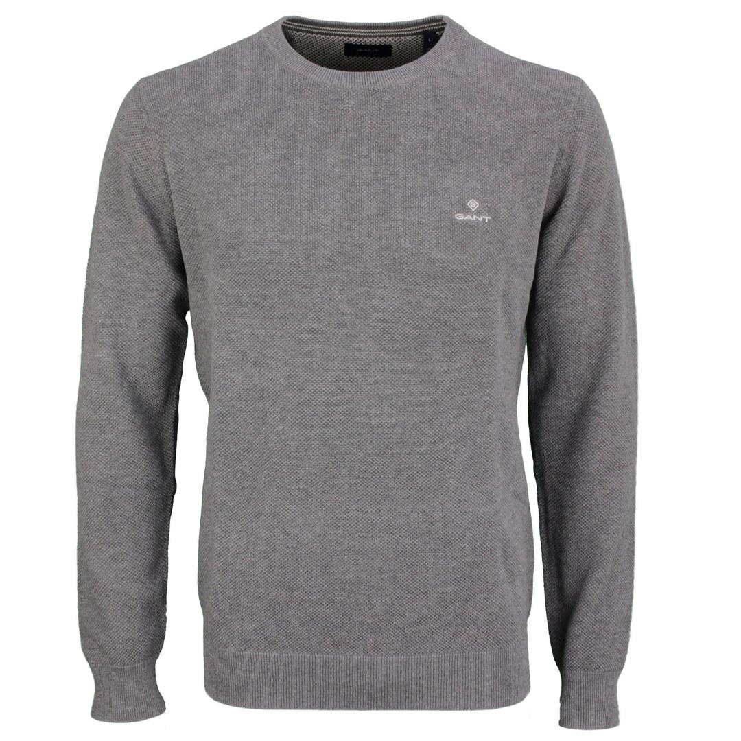 Gant Strick Pullover Strickpullover Cotton Pique unifarben 8030521 92 dark grey melange